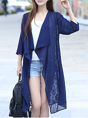 Collarless  Decorative Lace  Plain  Three-Quarter Sleeve Cardigans