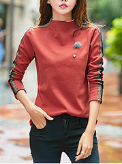 High-Neck-Color-Block-Long-Sleeve-T-Shirts