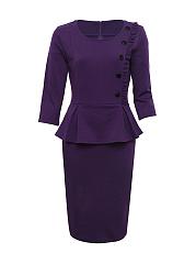 Peplum-Ruffle-Trim-Slit-Plain-Formal-Bodycon-Dress