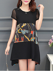 Round Neck  Colouring Printed Shift Dress