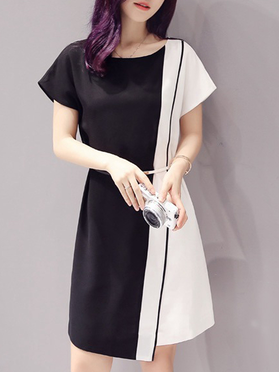 Round Neck  Patchwork  Belt Skater Dress