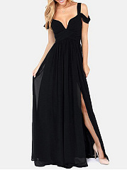 Open-Shoulder-High-Slit-Plain-Chiffon-Maxi-Dress