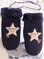Star And Lettters  Thick Warm Mittens