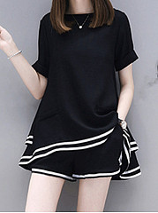 Summer  Blend  Women  Round Neck  Contrast Piping  Plain  Short Sleeve Blouses And Shorts