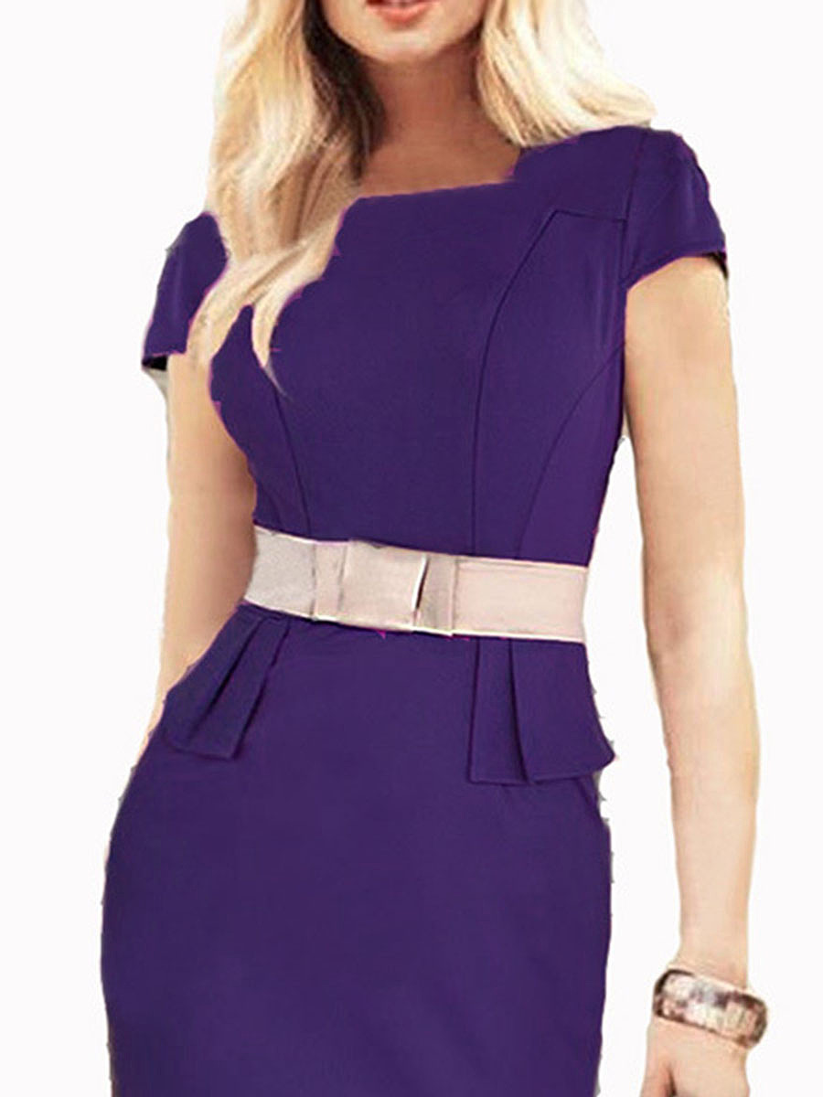 Boat Neck  Plain Bodycon Dress
