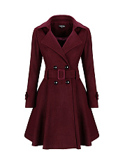 Classical Lapel Double Breasted  Plain Swing Woolen Coats