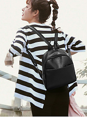 Fashion Three Pieces Overall Plain PU Backpack