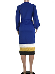 Round Neck  Patchwork  Contrast Piping  Colouring Bodycon Dress