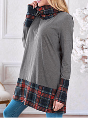 Turtle Neck  Checkered Long Sleeve T-Shirts