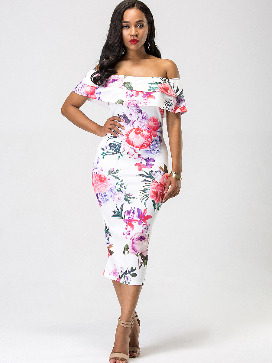 Off Shoulder Flounce Floral Printed Midi Bodycon Dress