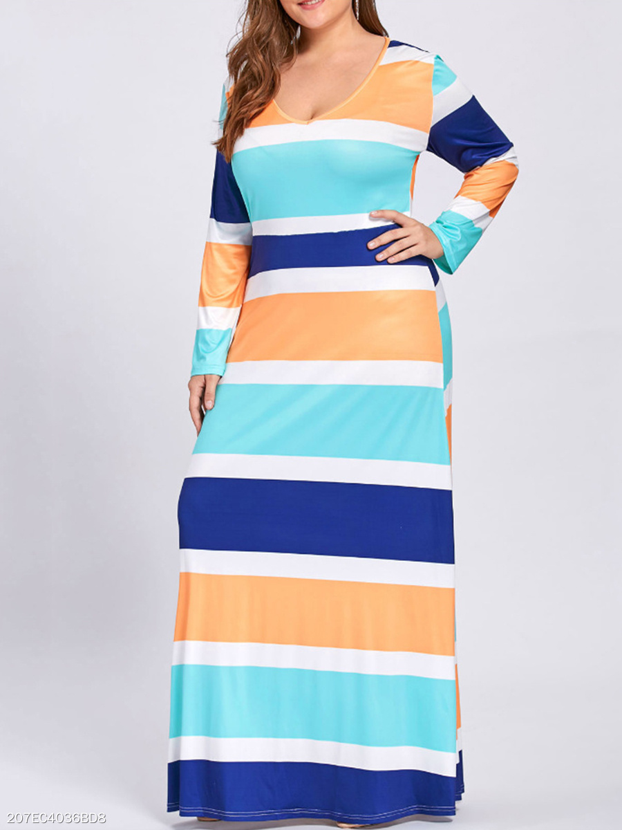 V-Neck  Striped Rainbow Plus Size Midi & Maxi Dresses