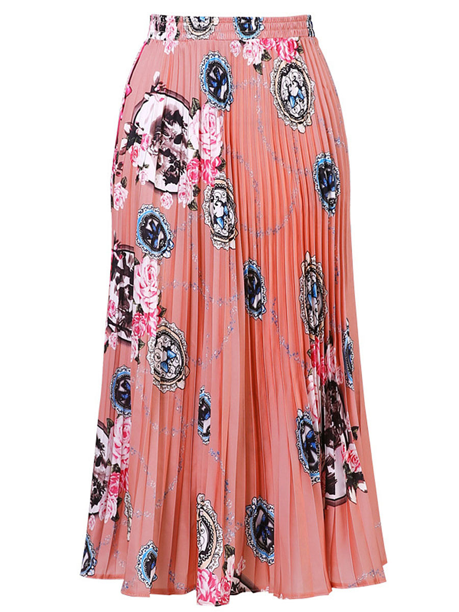 Charming Elastic Waist  Printed  Pleated Midi Skirt