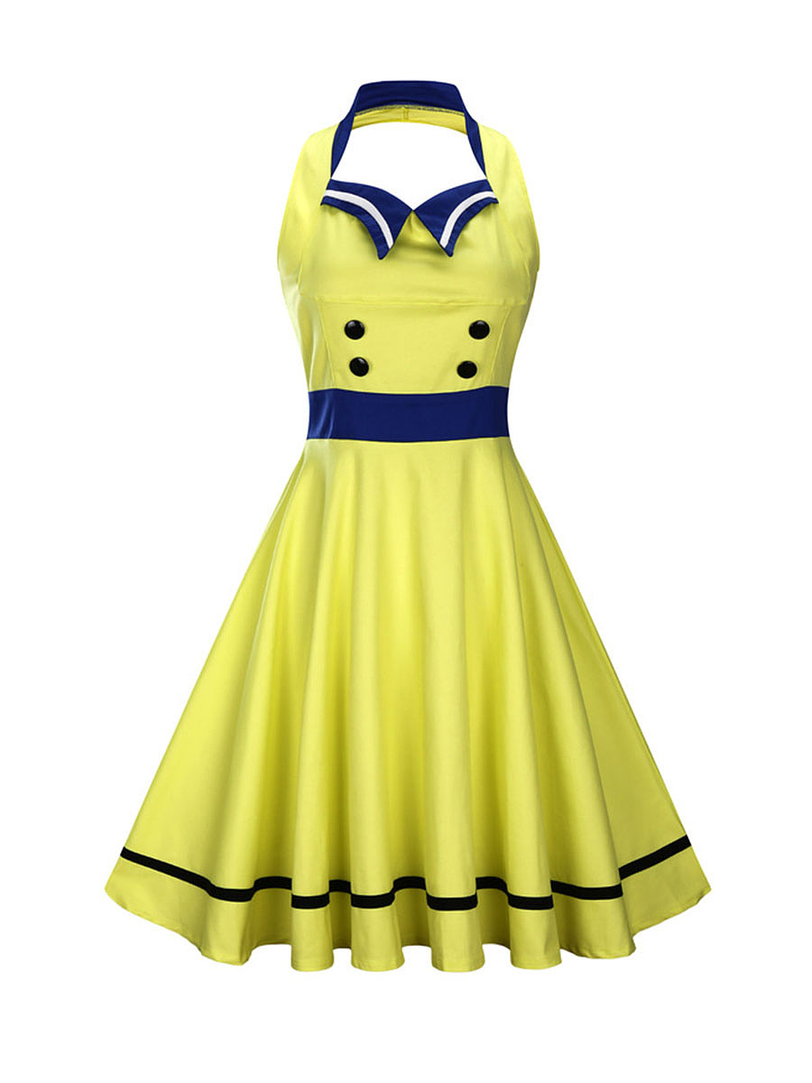 Retro Halter Sailor Collor Backless Color Block Skater Dress