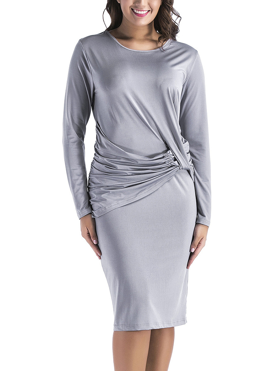 Round Neck  Plain Ruched Bodycon Dress