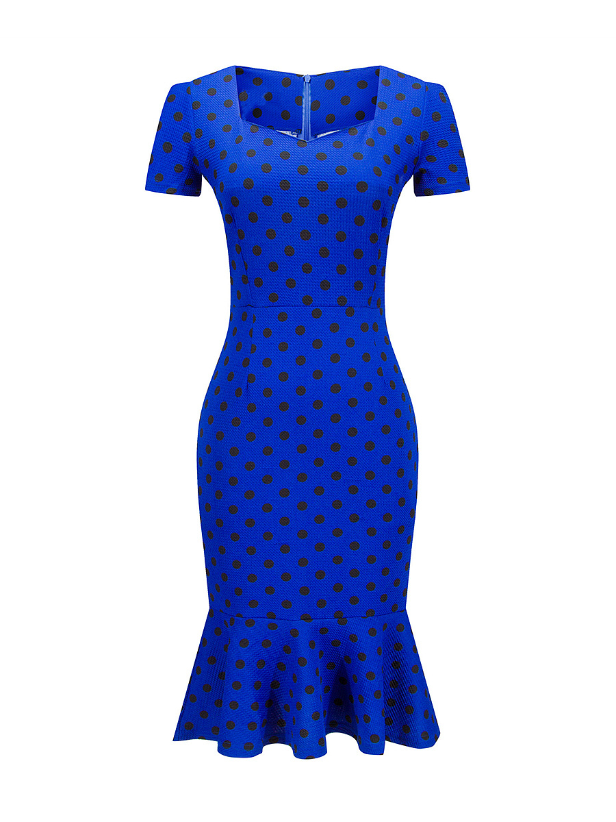 Polka Dot Attractive Mermaid Sweet Heart Bodycon Dress