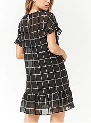 Crew Neck  Plaid Shift Dresses