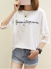 Spring Summer  Cotton  Women  Round Neck  Decorative Lace Patchwork  Letters  Three-Quarter Sleeve Long Sleeve T-Shirts