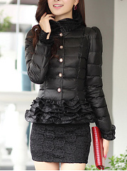 High Neck  Ruffle Trim  Quilted  Plain  Long Sleeve Coats