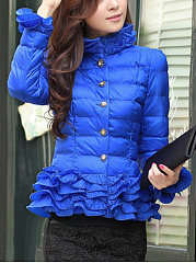 High Neck Quilted Solid Ruffle Trim Padded Coat