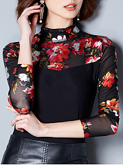 Band Collar Patchwork Floral Printed Long Sleeve T-Shirt