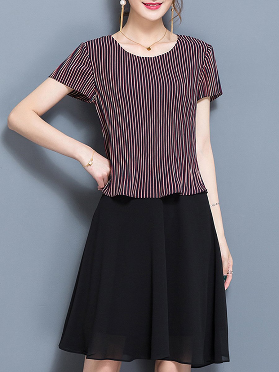 Round Neck  Vertical Striped  Chiffon Skater Dress