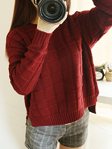 Round Neck  Plaid Plain  Long Sleeve Sweaters Pullover