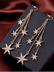 Fringe Star Rhinestone Drop Earrings