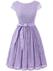 Round-Neck-Bowknot-Belt-Lace-Lace-Skater-Dress