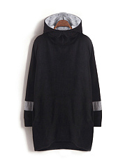 Hooded  Color Block  Polyester Shift Dress