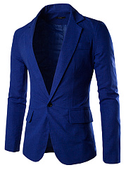 Men-Notch-Lapel-Single-Button-Plain-Linen-Blazer
