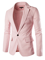 Men Notch Lapel Single Button Plain Linen Blazer