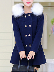 Hooded-Double-Breasted-Flap-Pocket-Woolen-Coat