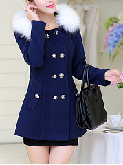 Hooded Double Breasted Flap Pocket Woolen Coat