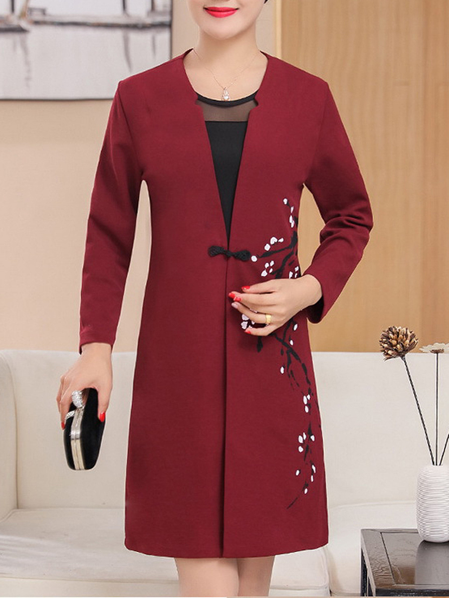 Collarless  Single Button  Printed Woolen Coat