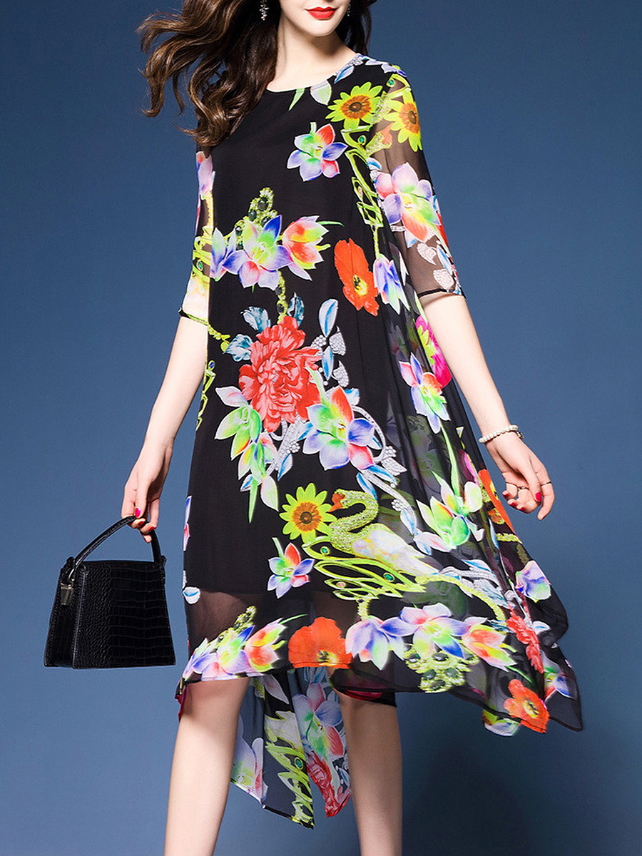 Round Neck  Floral Hollow Out Midi Half Sleeve Shift Dress
