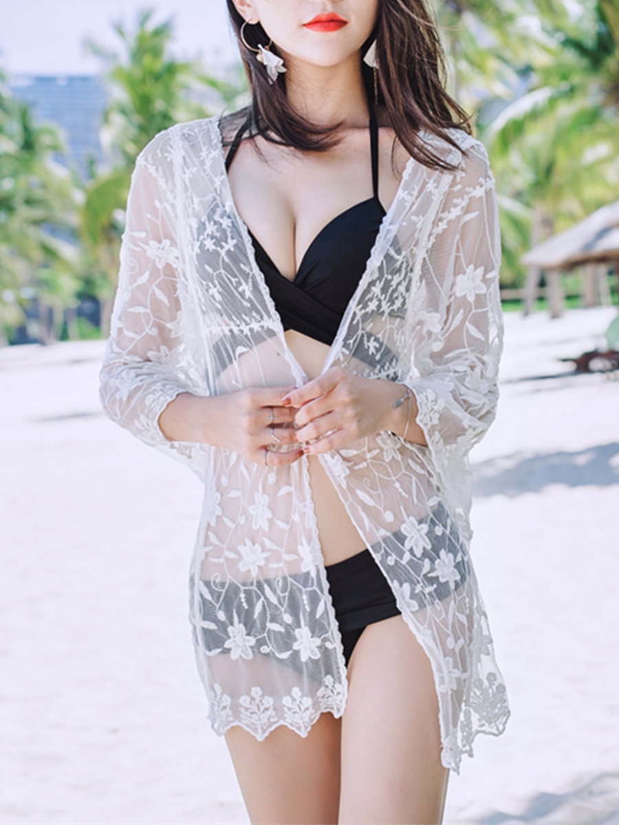 Exquisite See-Through  Embroidery Plain Kimono