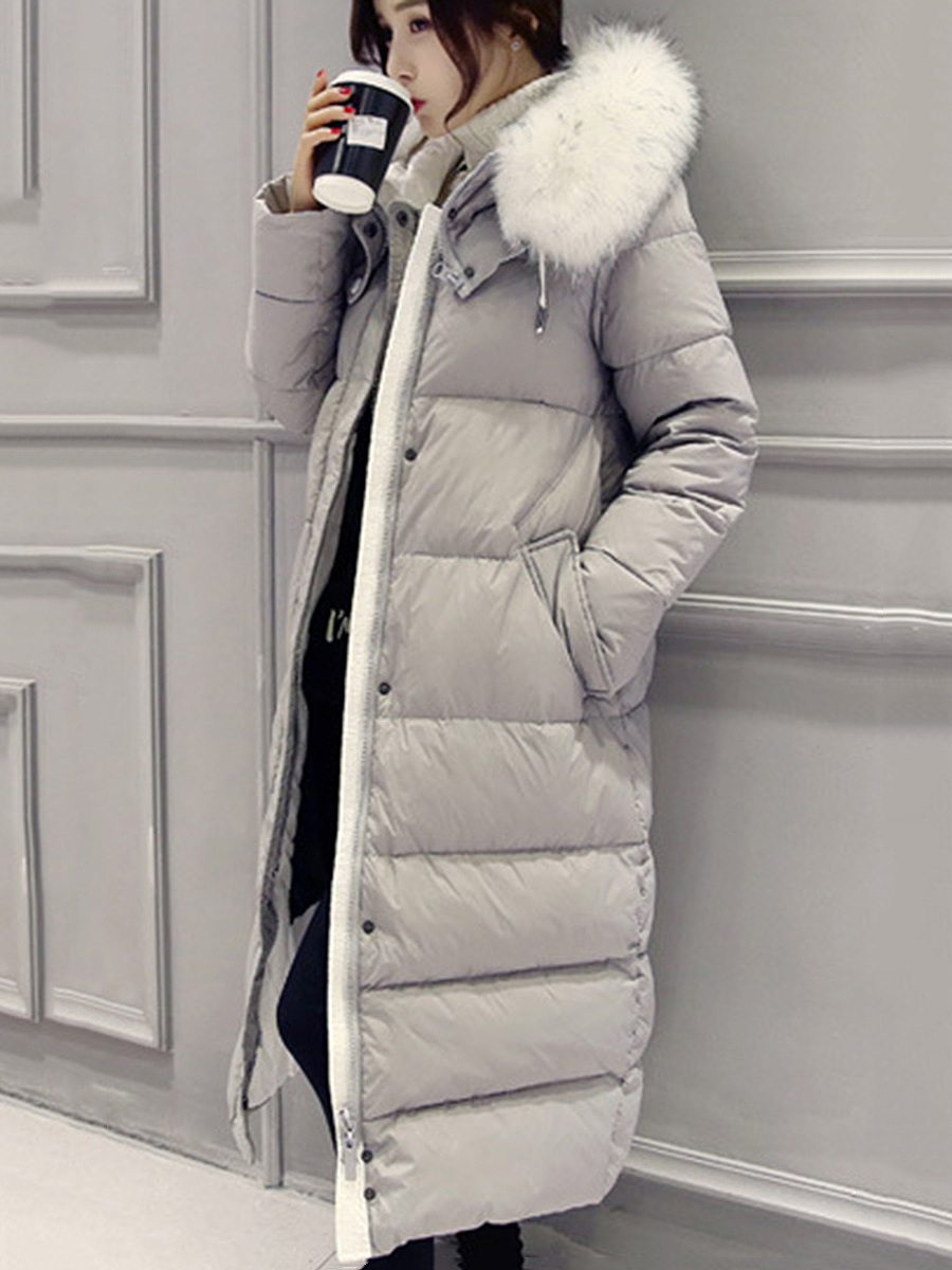 Hooded Pocket Longline Quilted Down Coat