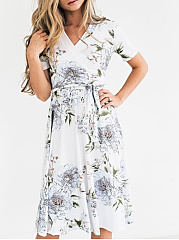 Surplice  Belt  Printed Skater Dress