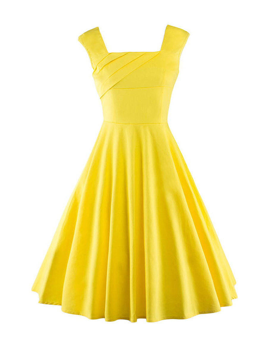 Square Neck Basic Plain Skater Dress