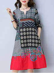 Split-Neck-Tribal-Printed-Pocket-Shift-Dress