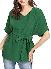 CottonLinen  V-Neck  Belt  Plain  Short Sleeve Blouse