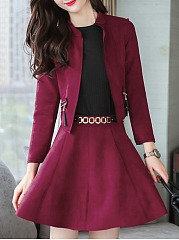 Plain Band Collar Tassel Zips Jacket And Flared Skirt