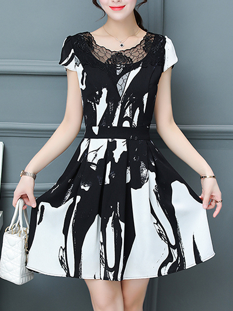 Black White Abstract Print Hollow Out Chiffon Skater Dress