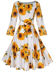 Sunflower Printed Round Neck Skater Dress