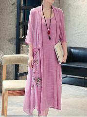 Round-Neck-Asymmetric-Hem-Floral-Fake-Two-Piece-Maxi-Dress