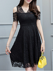 Open Shoulder  Ruffled Hem  Lace Skater Dress