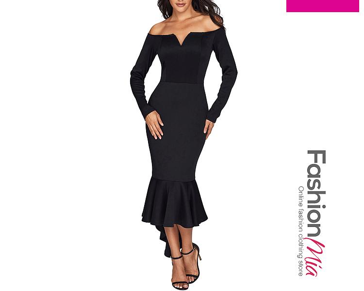 0437d1325b991 Off Shoulder Plain High-Low Mermaid Maxi Dress ...