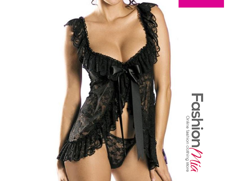Square Neck Ruffled Lingerie With Ribbon