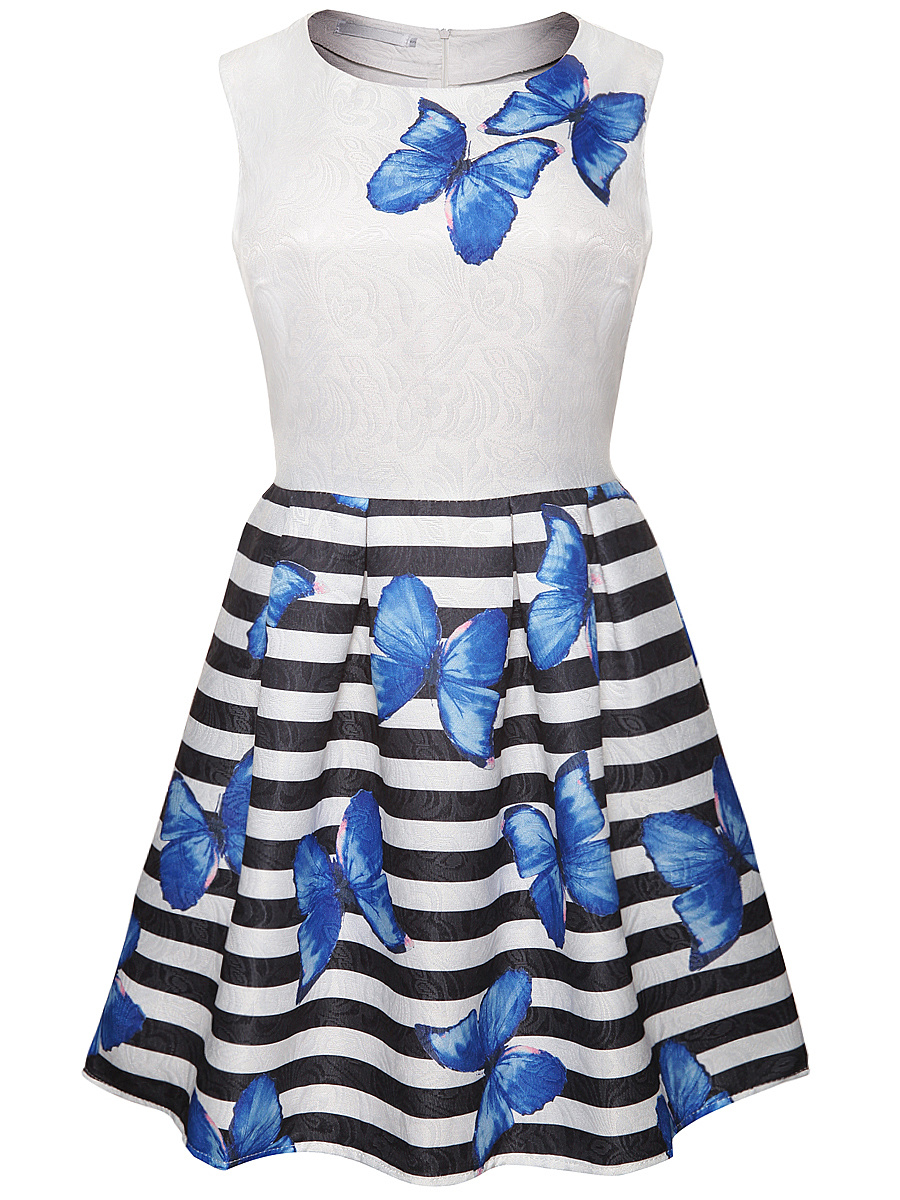 Butterfly Printed Striped Round Neck Skater Dress