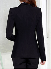 Trendy Notch Lapel Plain Single Button Blazer